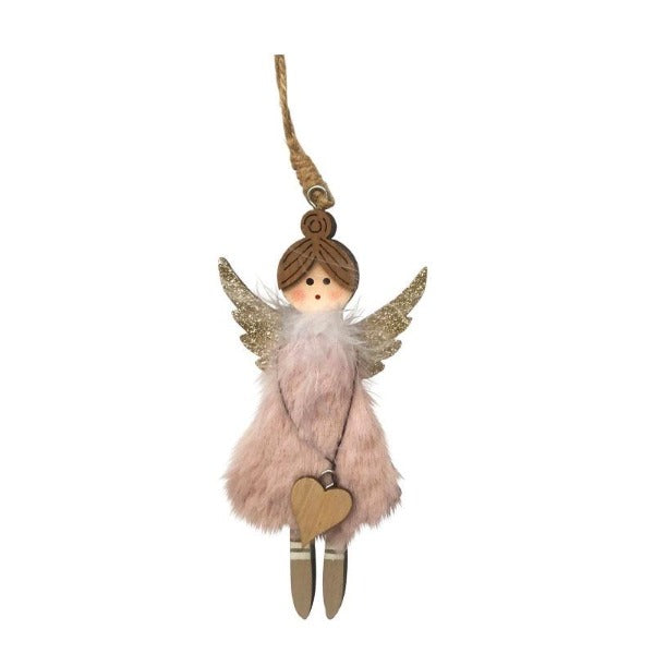 pink fluffy hanging angel decoration