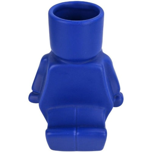 sitting block man planter blue
