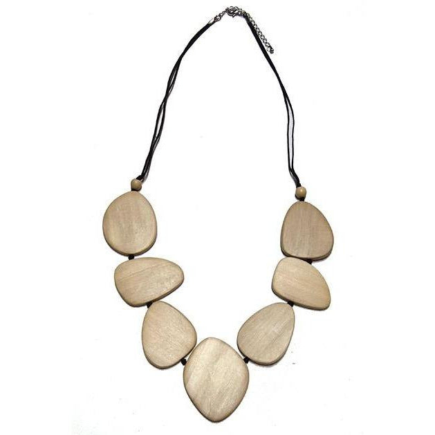 Cream Oval Disc Wood Necklace