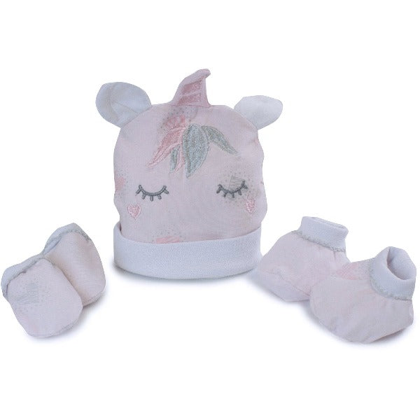 Unicorn Beanie, Pink Mitts and Booties