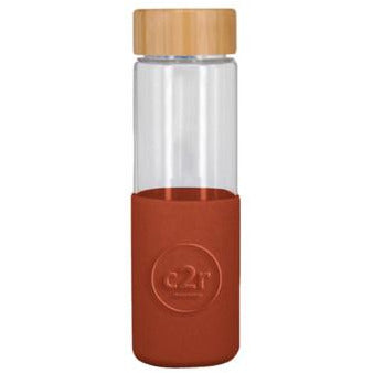 Rust Glass Bottle with Bamboo Lid