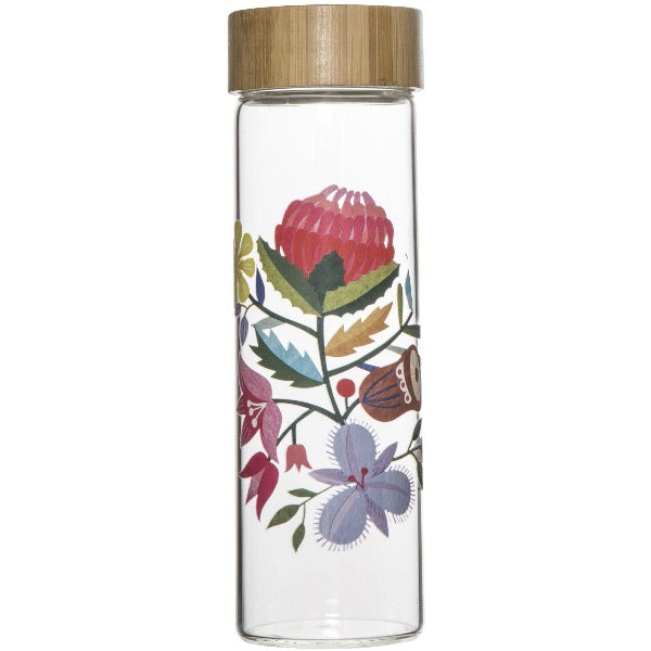 Australian Flora Glass Water Bottle