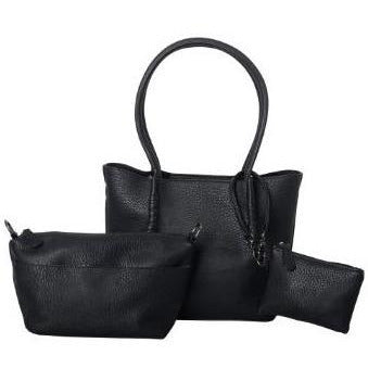 Black Vegan Leather 3 Piece Piccolo Amanda Bag