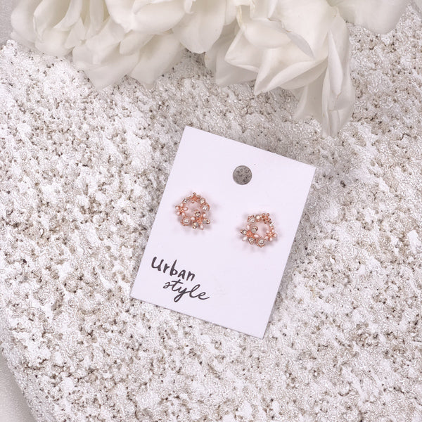 lacy rose pearl and gold earrings