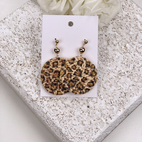 kenya leopard earrings cane