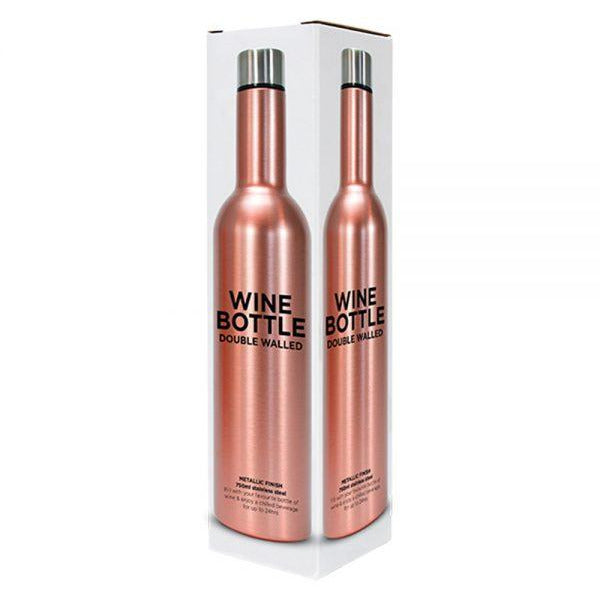 Rose Gold Stainless Steel Double Walled Wine Bottle