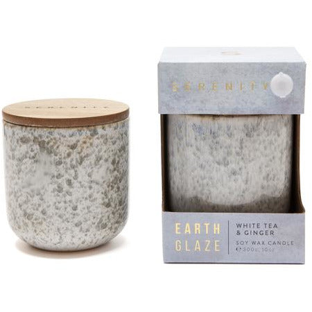 white tea and ginger earth glaze candle for women