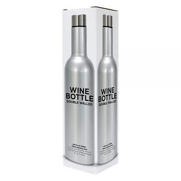 Silver Stainless Steel Double Walled Wine Bottle