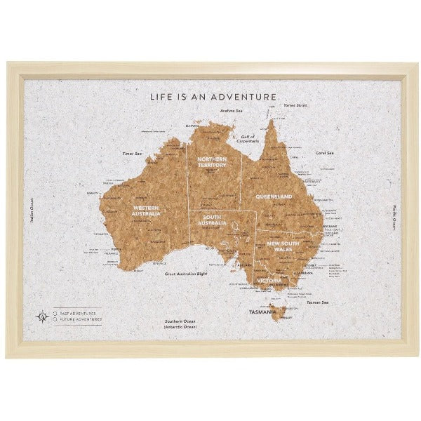 Australia Cork Travel Map