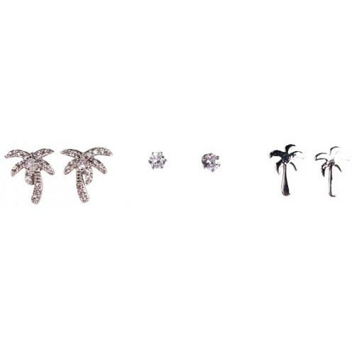 Silver Palm Tree Earrings Set of Three
