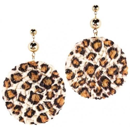 Woven Leopard Earrings