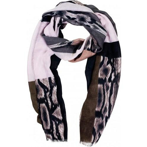 Pink and Brown Block Print Scarf