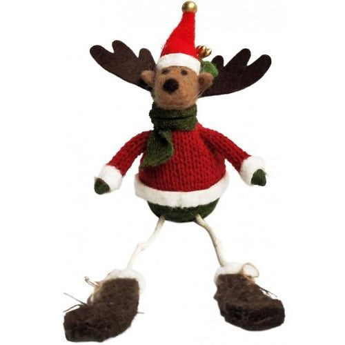 Reindeer Red Green Sitting Felt 16cm