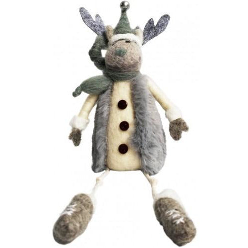 Felt Reindeer Grey Green Sitting 16cm