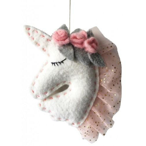 Hanging Felt Unicorn Head 19cm