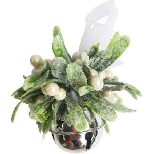 Hanging Silver Bell with Mistletoe 14cm