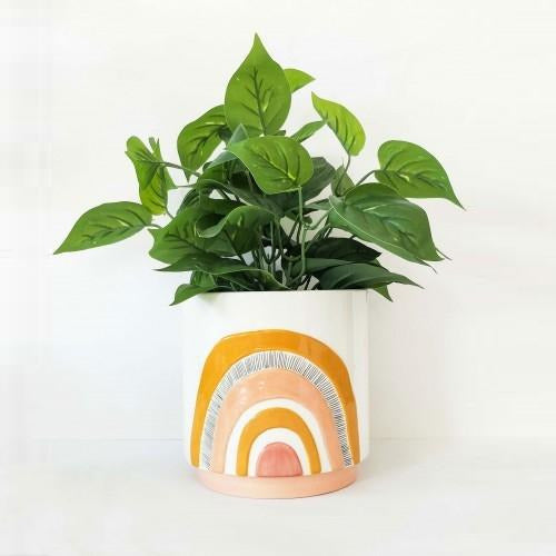 Woodstock Rainbow Planter Mustard Pink Medium