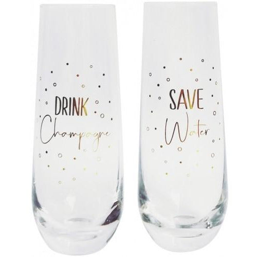 Save Water Drink Champagne Glass Set of 2