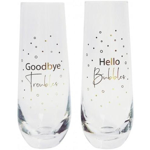 Hello Bubbles Champagne Glass Set of 2