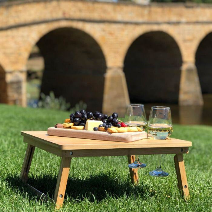 Picnic Table with Wine Glass Slots