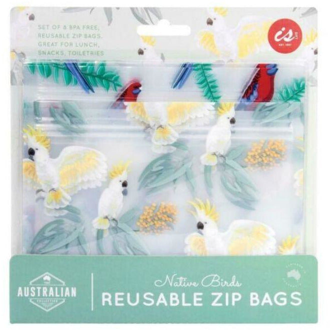 Native birds reusable zip bags