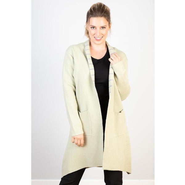 Cotton Viscose Cashmere Coat Cream and Stripe