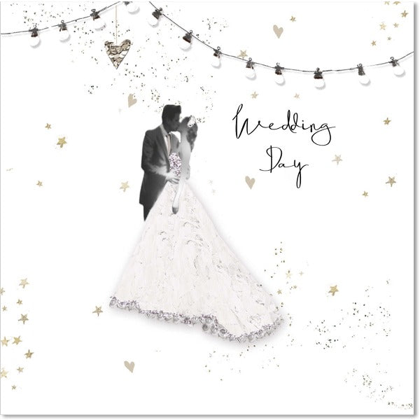 black and white wedding day card