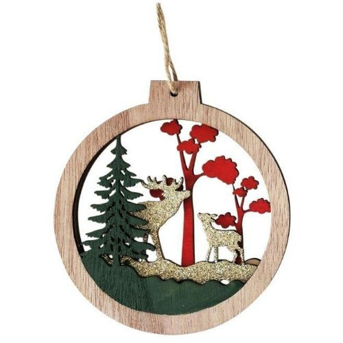 Reindeer and fawn glitter decoration