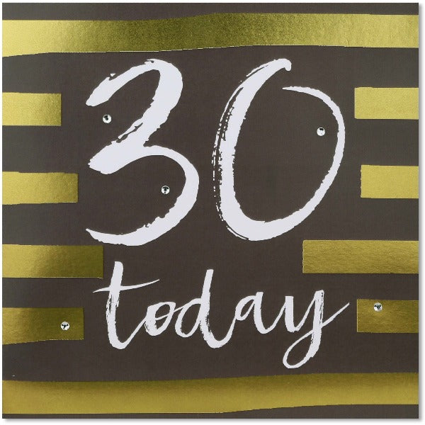 gold foiled thirty birthday greeting card