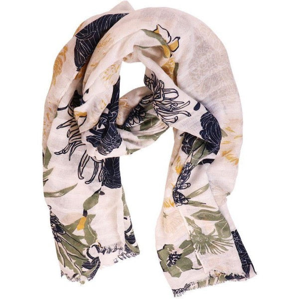 white floral scarf for women