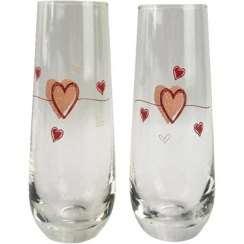 champagne flutes with love hearts