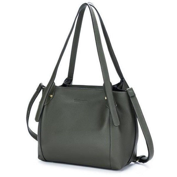 Khaki Vegan Leather 3 Piece Maya Handbag