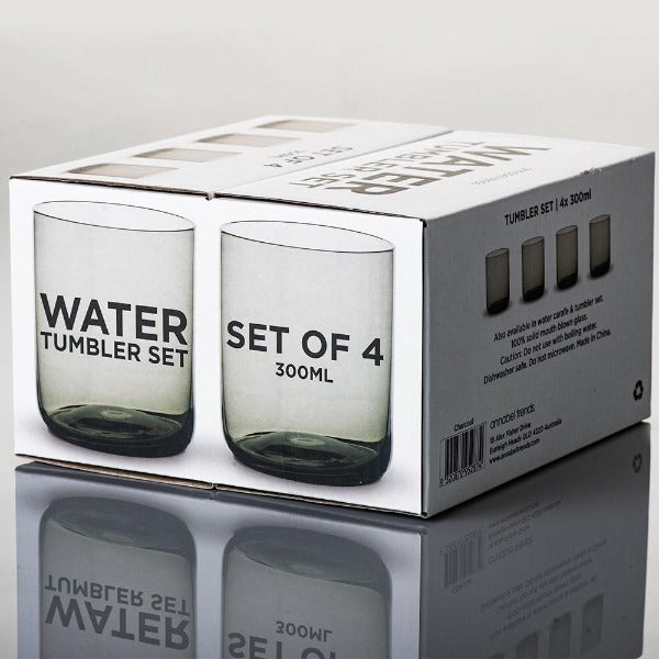 water tumbler set in charcoal