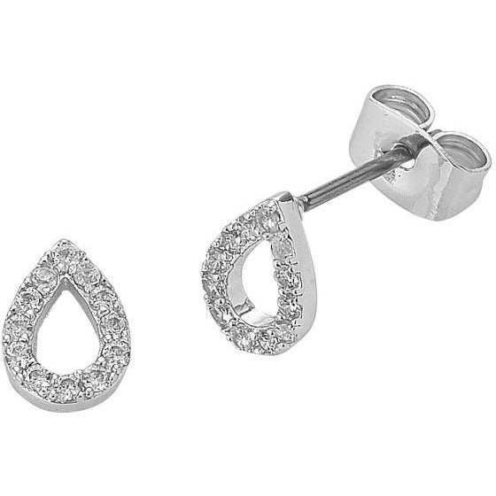silver Teardrop Diamond earrings liberte for women