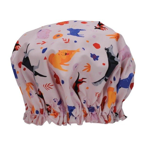 pink shower cap with retro dog print for women