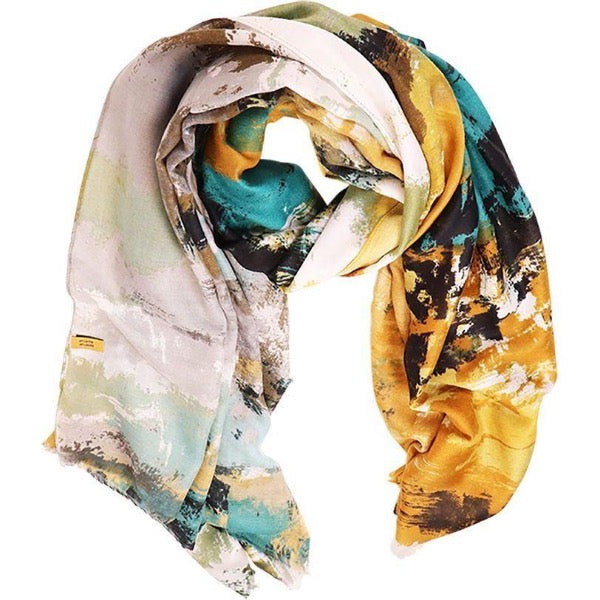 yellow grey scarf for women