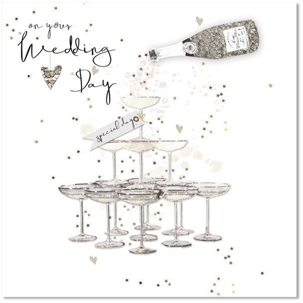 black white and gold wedding day greeting card