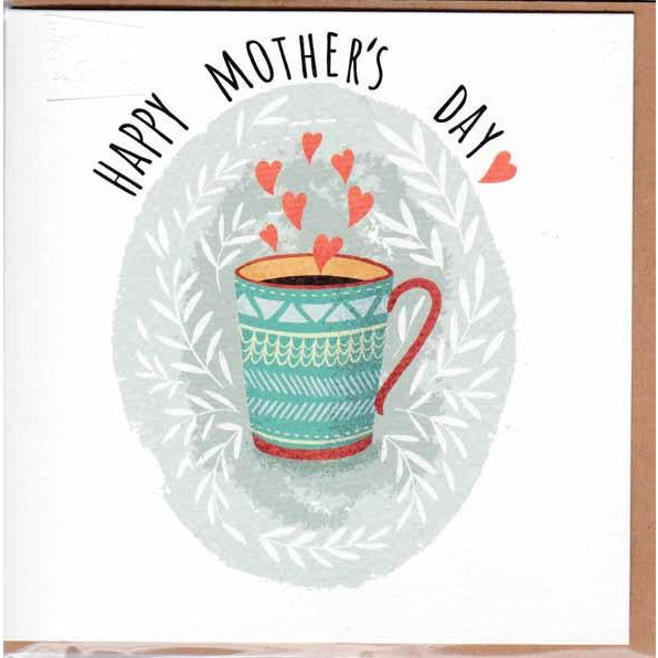 mother's day card with mug illustration