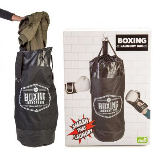 black noeltry laundry bag with boxing print