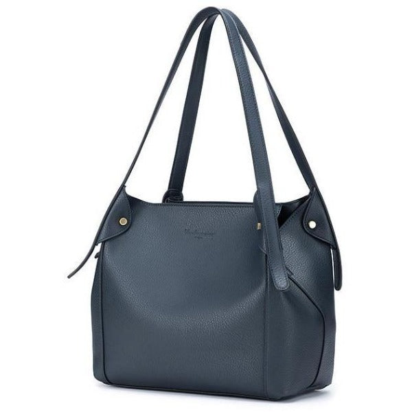 Navy Vegan Leather 3 Piece Maya Handbag