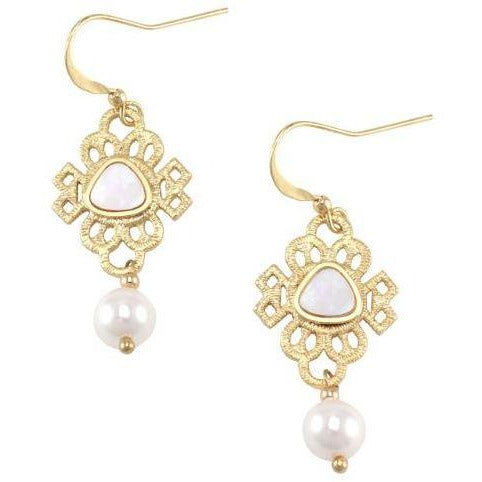 Gold Ornate Pearl Earrings