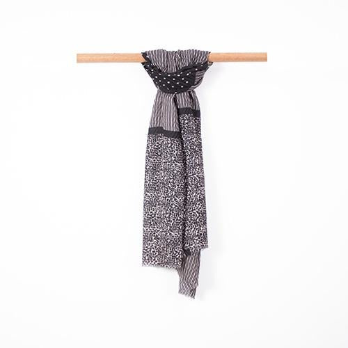 Soft and Stripe Dark Grey Scarf