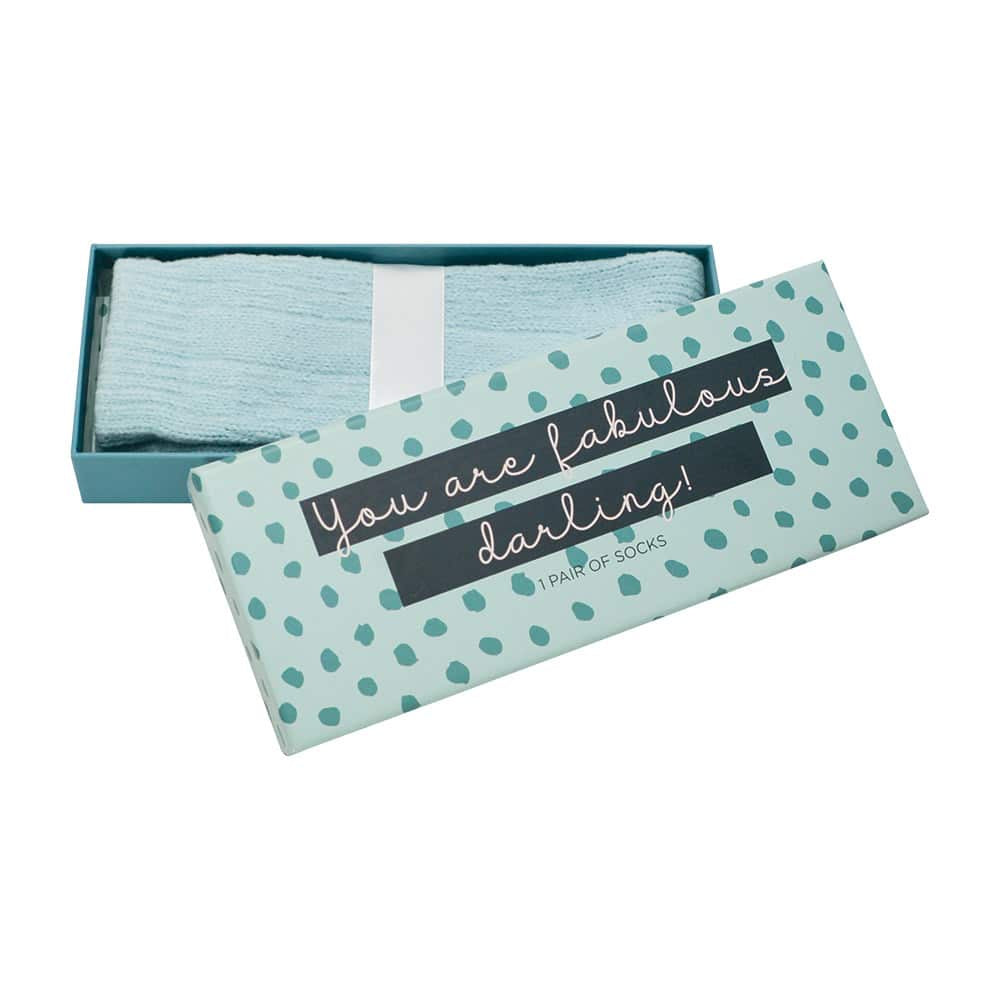 Annabel trends blue luxe socks boxed with quote