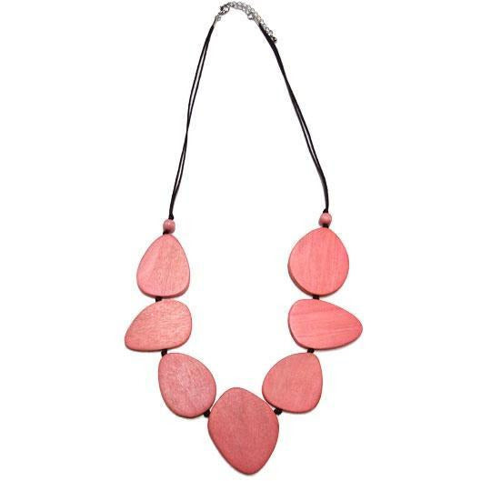 Pink Oval Disc Wood Necklace