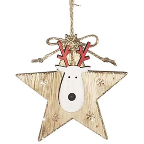 natural star reindeer decoration