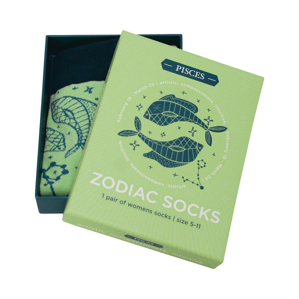 blue and green pisces zodiac boxed socks for women annabel trends