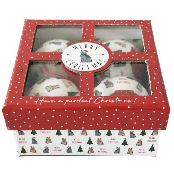 red cat bauble gift box