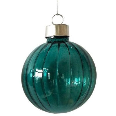 Glass hanging bauble navy round