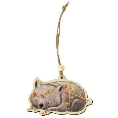 Wombat hanging christmas decoration