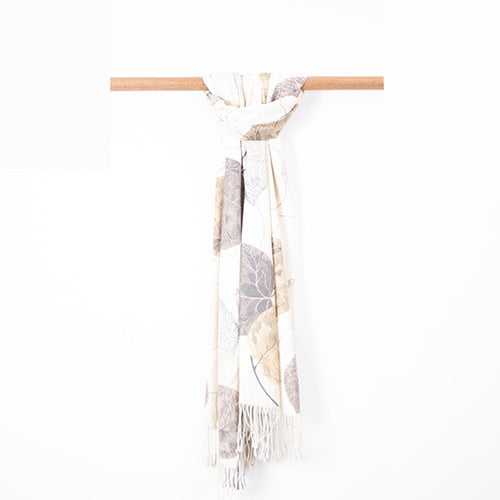 Cashmere Blend Cream and Beige Leaf Scarf